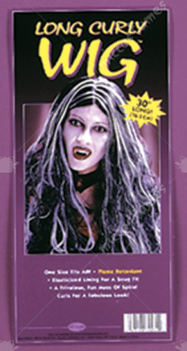 30in Curly Vamp Black White Wig