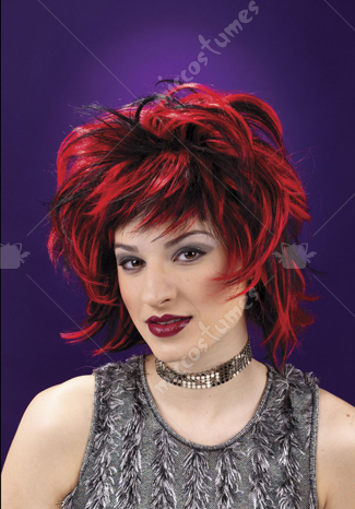 Club Red Black Wig