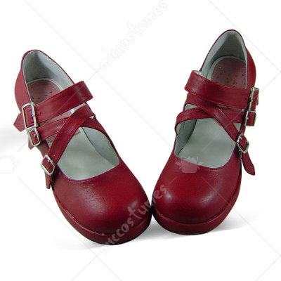 Wine Red Metal Buckle Lolita Shoes
