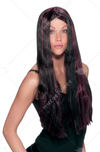 Witch Striped Wig Black Burgan