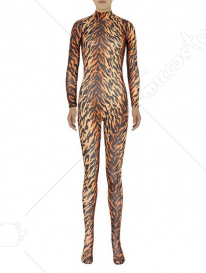 Unisex Leopard Zebra-print, Tiger-print Lycra Spandex Zentai Suit Animal Bodysuit without Hood Cosplay Costume
