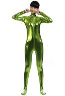 Unisex Shiny Metallic Spandex Zentai Suit Cosplay Catsuit with Front Open Zipper Costume