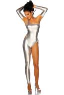 Shiny Metallic Zentai Suit One-shoulder Bodysuit Cosplay Costume for Women