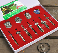 The Legend of Zelda Sowrd and Shield Pendant Set