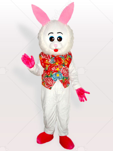 Adorable Eastern Bunny in Floriated Vest Adult Mascot Costume