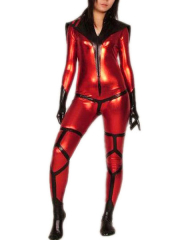 Alien Femal Fight Shiny Metallic Super Hero Catsuit