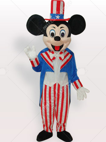 American Flag Micky Short Plush Adult Mascot Costume