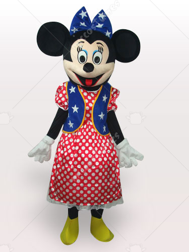 American Flag Minnie Short Plush Adult Mascot Costume