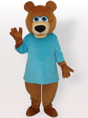 Bear in Blue T Shirt Adult Mascot Costume
