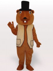 Beaver Short Plush Adult Mascot Costume