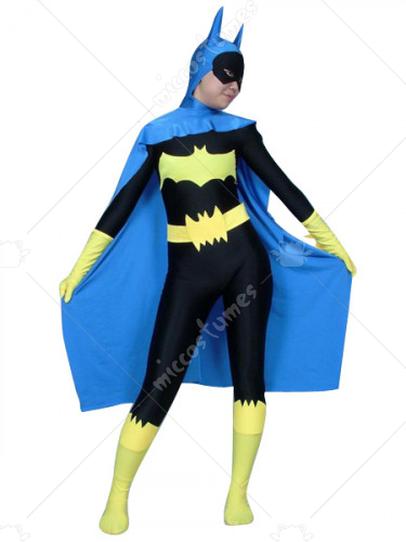Black And Blue Batwoman Lycra Spandex Zentai Catsuit