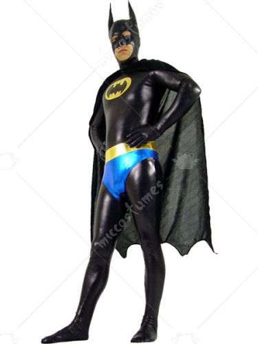 Black And Blue Shiny Metallic Batman Super Hero Zentai Suit