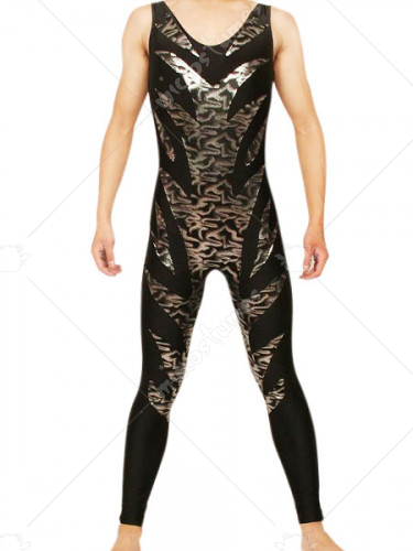 Black And Gold Sleeveless Shiny Metallic Catsuit