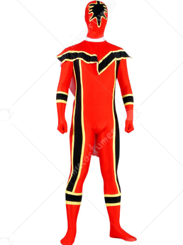 Black And Red Lycra Spandex Super Hero Zentai Suit