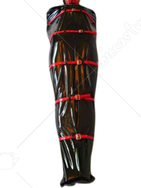 Black And Red Shiny Metallic Catsuit