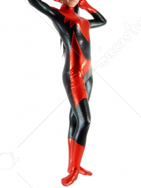 Black And Red Shiny Metallic Unisex Catsuit