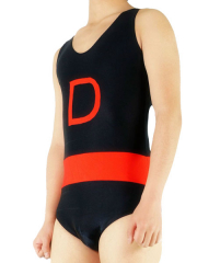 Black And Red Sleeveless Lycra Spandex Catsuit