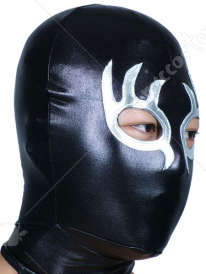 Black And Silver Open Eye And Mouth Shiny Metallic Hood
