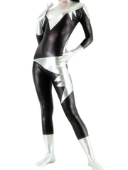 Black And Silver Shiny Metallic Unisex Catsuit
