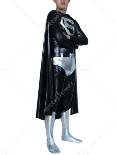 Black And Silver Super Man Shiny Metallic Super Hero Catsuit