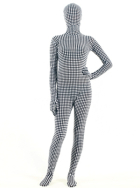 Black and white checkers lycra zentai suit