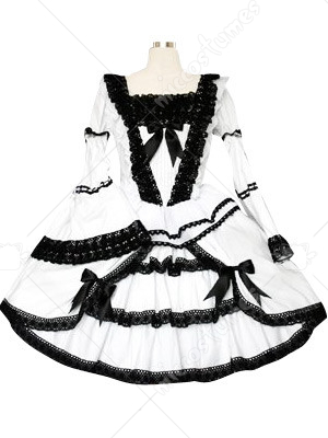Black And White Lace Trimmed Gothic Lolita Cosplay Dress