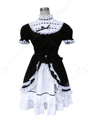 black and white lolita dress