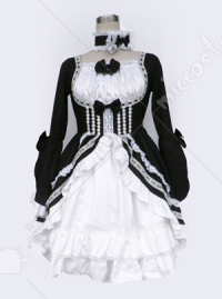 black and white lolita dress with long sleeves