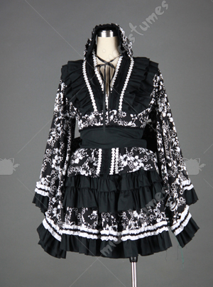 black and white lolita dress with pleated lap