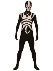 Black And White Lycra Spandex Super Hero Costume