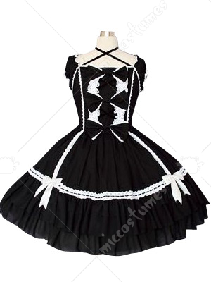Black And White Puff Sleeves Gothic Lolita Cosplay Dress