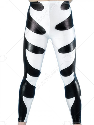 Black And White Shiny Metallic Pants