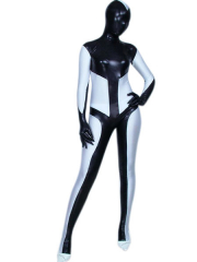 Black And White Shiny Metallic Unisex Zentai Suit