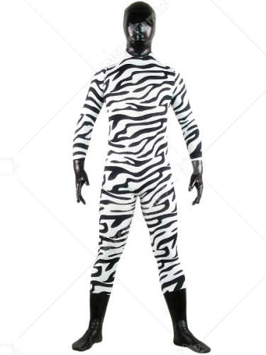 Black And White Zebra Patern Shiny Metallic Lycra Spandex Zentai