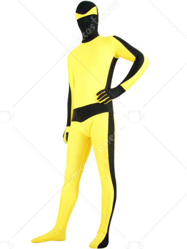Black And Yellow Lycra Spandex Bruce Lee Zentai Suit