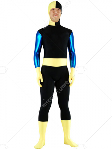 Black And Yellow Lycra Spandex Shiny Metallic Zentai Suit