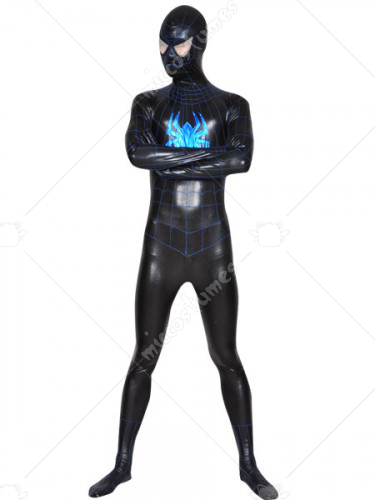 Black Blue Spiderman Superhero Shiny Metallic Zentai Suit