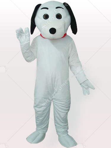 Black Eared White Dog Adult Mascot Costume