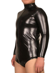 Black Front Zipper Shiny Metallic Catsuit