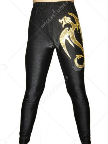 Black Gold Dragon Spandex Pants