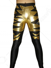 Black Gold Pattern Shiny Metallic Pants