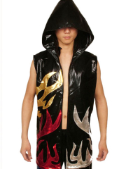 Black Hood Shiny Metallic Catsuit Costume