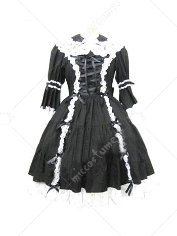 Black Lace Trimmed Gothic Lolita Cosplay Dress