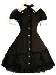 Black Lace Trimmed Lolita Cosplay Costume