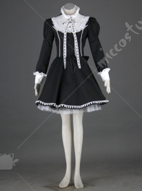 black lolita dress with white collar and long sleeves