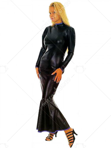 Black Long Sleeves Shiny Metallic Catsuit
