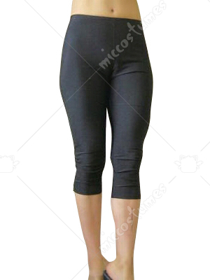 Black Lycra Sexy Cropped Trousers