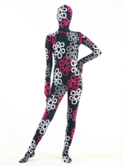 Black lycra zentai suit with fuchsia white and grey circles