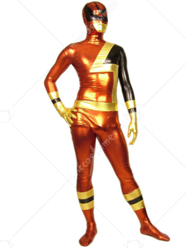 Black Red And Golden Shiny Metallic Zentai Suit