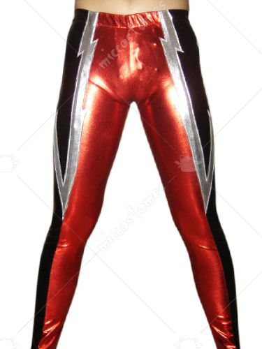 Black Red Silver Pattern Shiny Metallic Pants